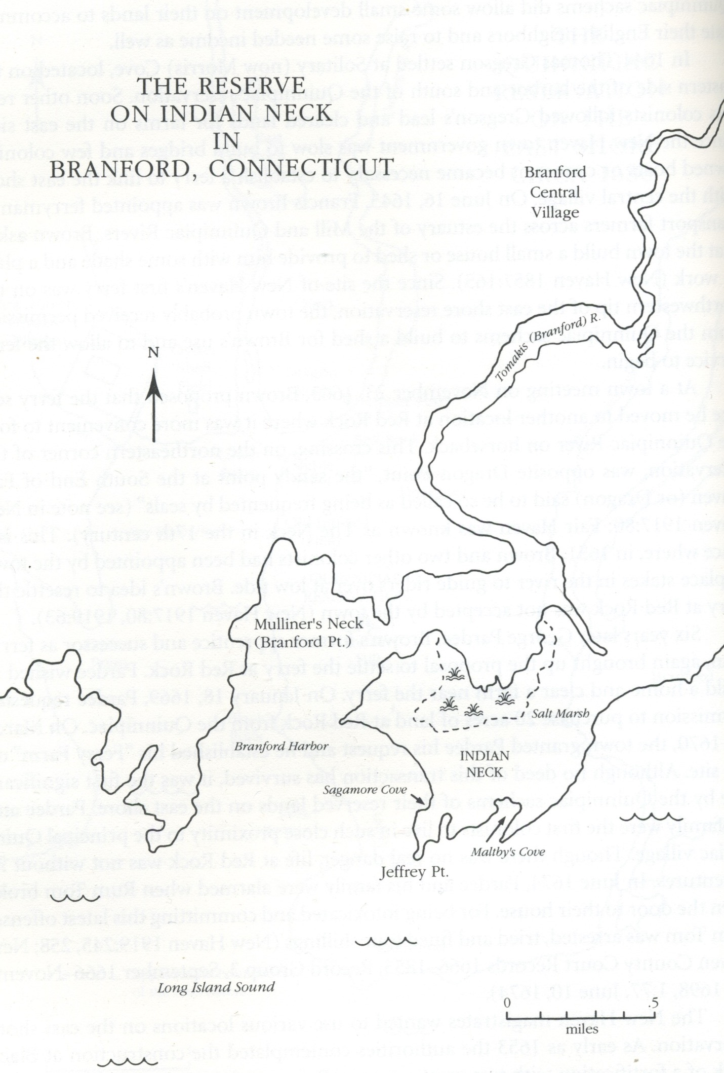Map of the reserve land of the Indians at Totoket (Branford)